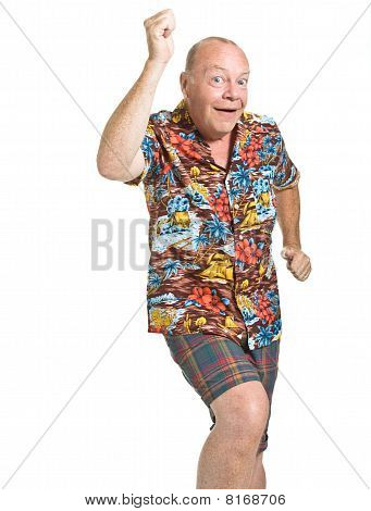 Expressive old man in loud shirt holiday concept isolated against white. poster