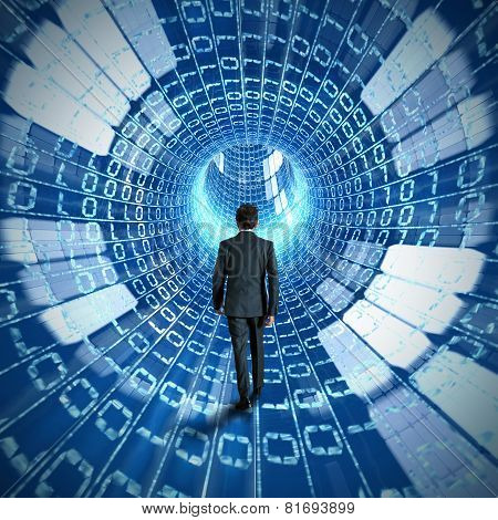 Businessman discovering internet