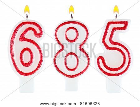 candles number six hundred eighty-five isolated on white background poster