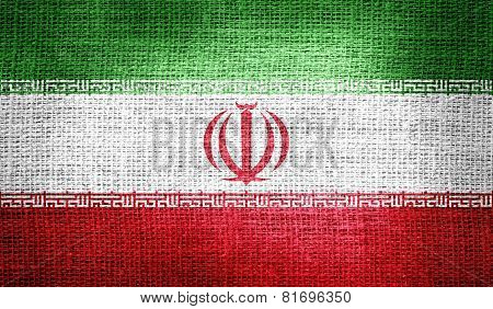Iran flag on burlap fabric