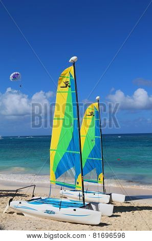 Hobie Cat catamarans ready for tourists at Bavaro Beach in Punta Cana