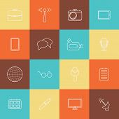 Set of thin journalism icons for your design poster