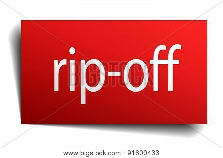 Rip-off Red Paper Sign Isolated On White
