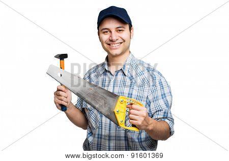 Smiling carpenter isolated on white