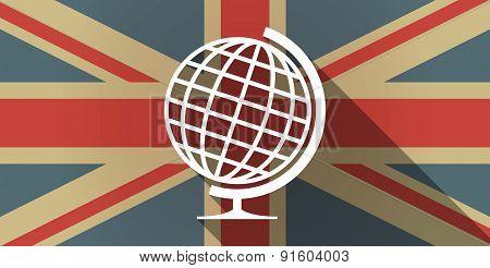 Uk Flag Icon With A World Globe