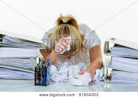 young woman in office is overwhelmed with work. burnout at work or study. poster