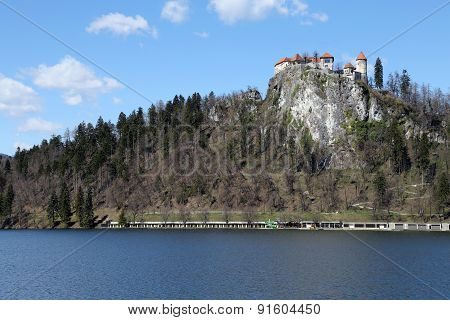 Castle On The Hill Near The Lake Bled In Slovenia In Eastern Europe