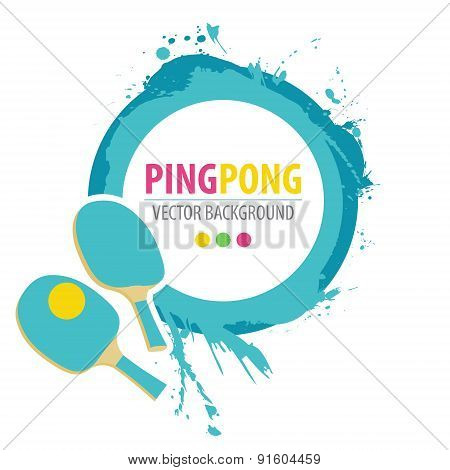 Ping-pong rackets and ball on grunge background.