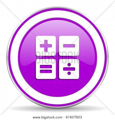 calculator violet icon calc sign