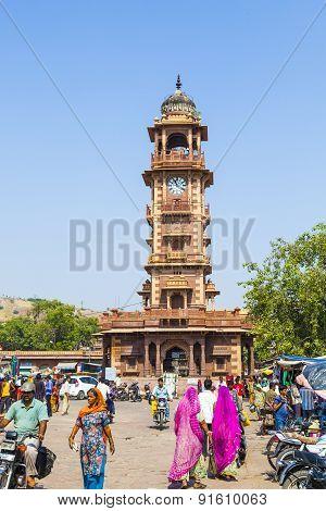 People Hurry At The Sadar Market At The Clocktower