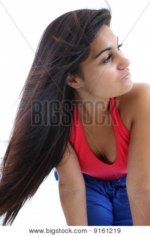 Woman With Magnificent Dark Hair