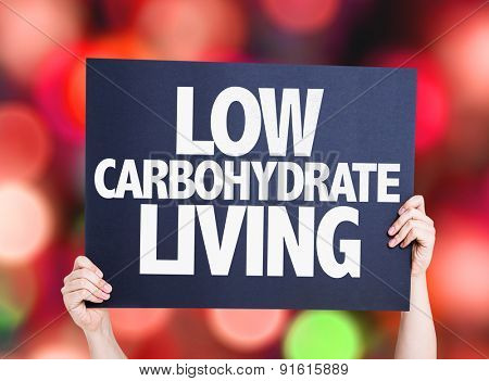 Low Carbohydrate Living card with bokeh background