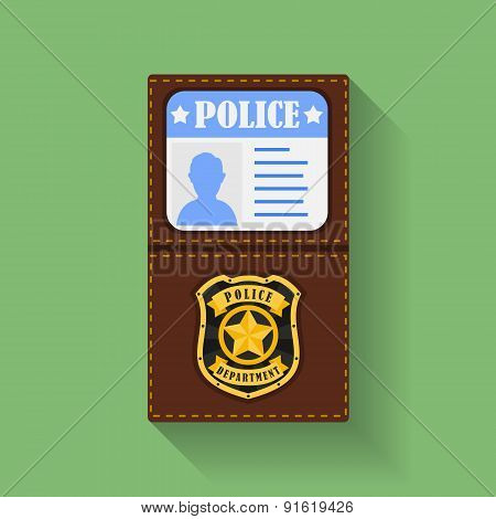 Icon of Police Badge With Id Case, holder. Flat style