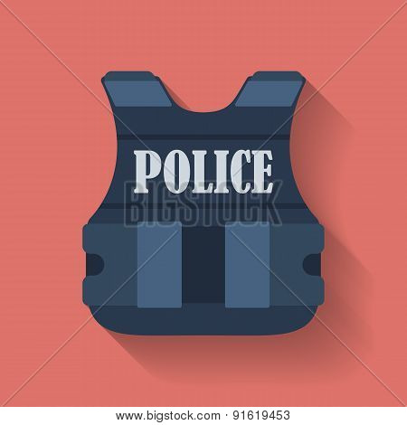 Icon of police flak jacket or bulletproof vest. Flat style