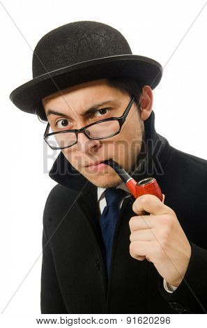 Sherlock Holmes with smoking pipe isolated on white