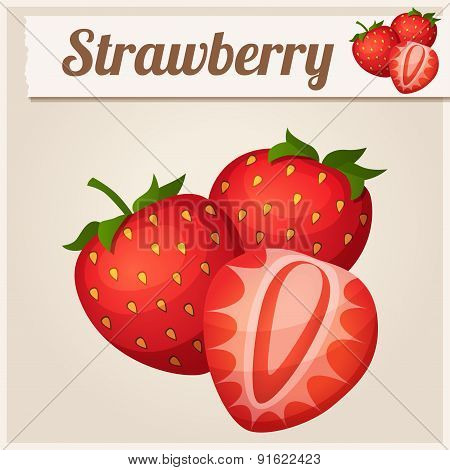 Three strawberries. Detailed Vector Icon