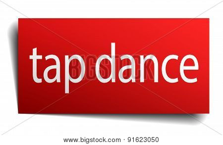 Tap Dance Red Paper Sign On White Background