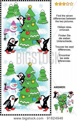 Christmas, winter or New Year themed visual puzzle: Find the seven differences between the two pictures of christmas tree, snowman, penguins. Answer included. poster
