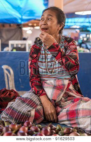 Indonesia: Portrait Of Senior Market Vendor