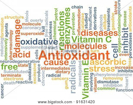 Background concept wordcloud illustration of antioxidant