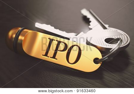 IPO Concept. Keys with Golden Keyring.