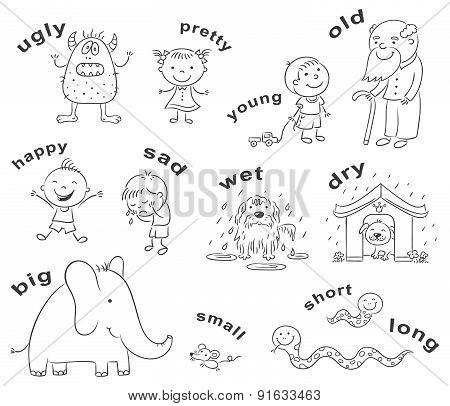 Antonyms Cartoons, Black And White