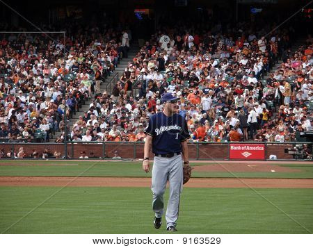 Brewers Corey Hart Walks Towards Right Field To Take Position In Outfield