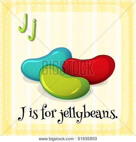 Flashcard letter J is for jellybeans