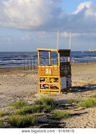 Empty lifeguard station on Galveston Beach, TX