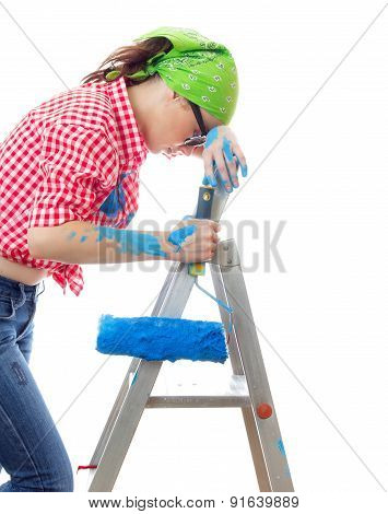Tired Woman With Paint Roller, Isolated On White. Lazy Female Worker On Renovation Or Wall Painting