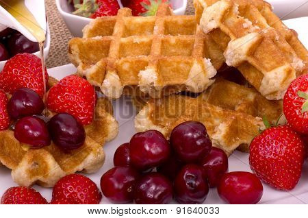 Belgian Waffles,  Summer Fruit and Maple Syrup