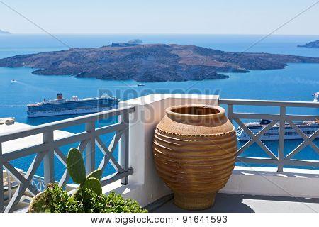 View Of The Volcano Of Santorini's