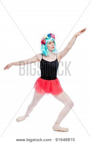 Vibrant Wig Wearing Ballet Girl In Stretch Position