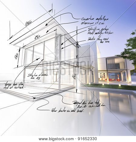 3D rendering of a luxurious villa contrasting with a technical draft part. The writtings are indicating construction materials: stone, aluminum and steel and technical measurements
