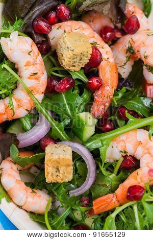 Fresh Salad With Shrimps And Pomegranade Seeds