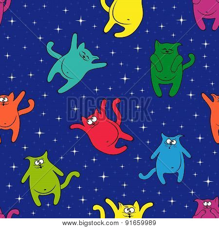 Seamless Pattern With Amusing Cats On Starry Sky
