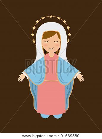 Holy Mary design over brown background vector illustration
