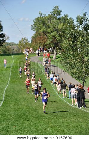 Minnesota High School Boys Running In The Roy Griak Invitational Cross Country Race