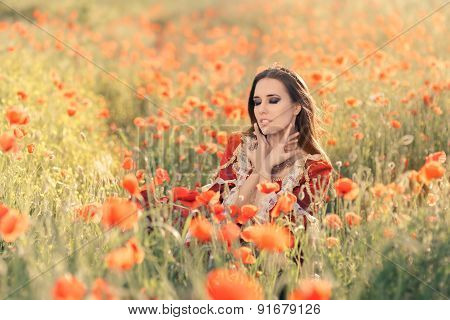 Beautiful Princess in a Field of Poppies
