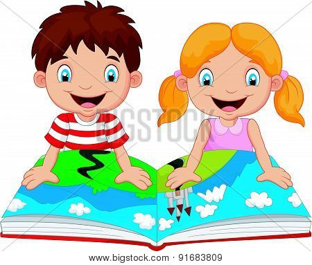 Cartoon boy and girl were readings the story