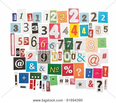 Numbers and symbols from newspapers