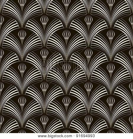 Seamless Pattern With Stylish Elements 2d Monochrome Texture. Modern Art Deco Print.