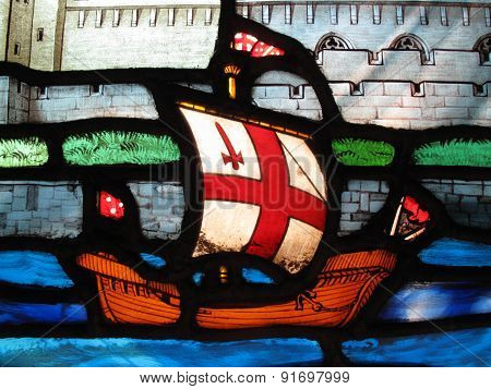 Tudor galleon on a stained glass window