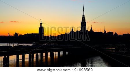Silhouette of Old Town of Stockholm