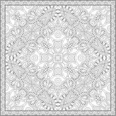 unique coloring book square page for adults - floral authentic carpet design, joy to older children and adult colorists, who like line art and creation, vector illustration poster