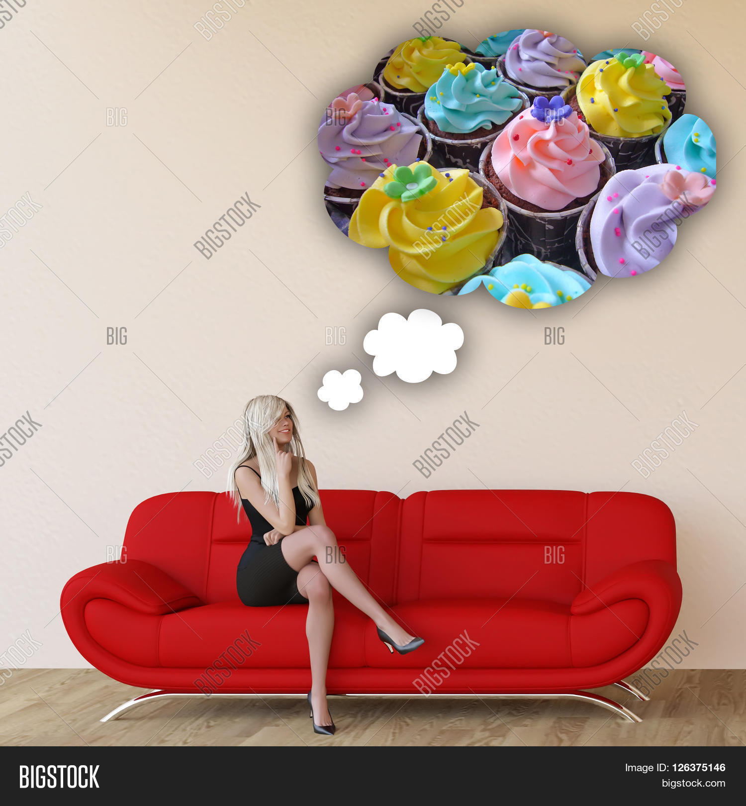 Woman Craving Cupcakes Image Photo Free Trial Bigstock