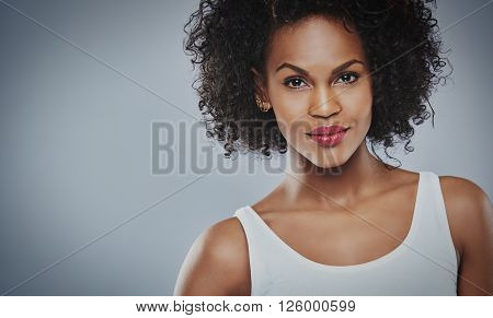 Head And Shoulders View On Grinning Black Woman