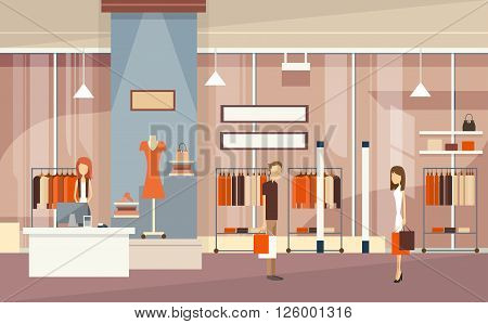 Couple With Shopping Bags Luxury Fashion Shop Center Mall Interior Customers Flat Vector Illustration