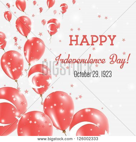 Turkey Independence Day Greeting Card. Flying Balloons In Turkey National Colors. Happy Independence