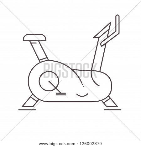 Line style icon of stationary bike. Vector illustration.